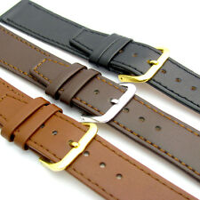 Fine Stitched Calf Leather Watch Strap Band 16-22mm Black Brown or Tan Free Pins