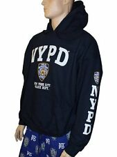 NYPD Hoodie White Sleeve Print Sweatshirt Navy Blue New York City Police Shirt