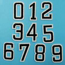 Black Diy Number 0 - 9 Iron on Sew Patch Applique Embroidered School Sports Lot.