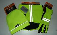 PROCLIMATE Hi-Vis Beanie Hat, Fleece Gripper Gloves and Fleece Neckwarmer