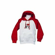 I Love NY Girls Hoodie Glitter Sweatshirt Pullover Heart New York Kids White Red