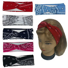 "Bandana Print Headband Women's Yoga Hair Wrap Paisley Twisted 3""  Stretchabable"