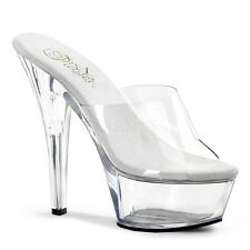 Kiss-201, Stiletto Plateau Pantolette transparent