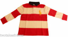 Ralph Lauren Boys Long Sleeve Red & White Polo Top Rugby Shirt L/S Big Pony NEW