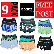 BONDS KIDS UNDERWEAR 9 PACK PAIRS TRUNKS TRUNK BOYS BOYLEG BOXER SHORTS ANY SIZE