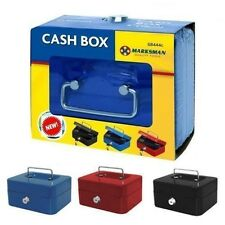 CASH BOX MONEY BOX TRAY WITH 2 KEYS STEEL PETTY CASH BOX SAFE METAL & TRAY