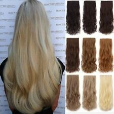 One Piece Clip In Half Head Hair Extension Brown blonde red feel like real hair