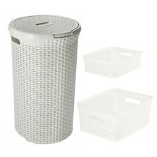 Curver Nestable Rattan Basket White 13L , 8L Round Hamper 48L Storage Baskets