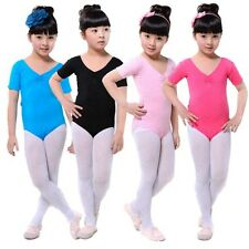 Girls Short Sleeve Ballet Dance Gymnastics Bodysuit Leotards 3-12Y Dress H79