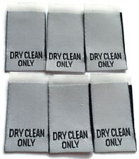 50 Dry Clean Only Woven Labels Clothing Garment Label Cut /& Loop Folded White