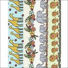 Timeless Treasures Jungle Animals & Flowers Stripe Cotton Fabric