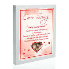 PERSONALISED 'YOUR SONG' FRAME WITH PHOTO - First Dance/Wedding Song - GIFT