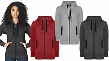 Ladies NEW Girl Brave Soul Zip Up Hoodie Plain Sweatshirt Hooded Hoodie Coat Top