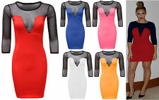 Womens Ladies Celeb Beyonce Inspired Mesh Insert 3/4 Sleeve Bodycon Mini Dress