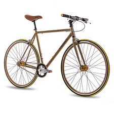 "28"" Zoll FIXIE RENNRAD FAHRRAD CHRISSON FG FLAT 1.0 FIXED GEAR S SPEED gold NEU"