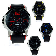 Mens Silicone Plastic Band Sport Fashion Analog Round Wrist Watch