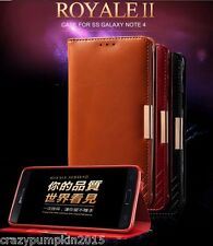 KLD Royale 100% Genuine Leather Case Flip Cover Wallet For Samsung Galaxy Note 4