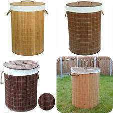 Folding Bamboo Laundry Washing Round Basket Clothes Linen Storage Hamper Lid New