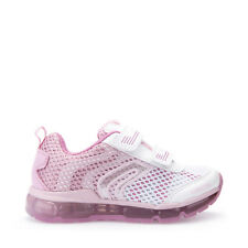 GEOX SCARPE JUNIOR SNEAKERS IN TELA WHITE/PINK CON LUCI LINEA ANDROID J5245A