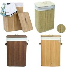 Rectangular Large Folding Bamboo Laundry Washing Basket Clothes Storage Hamper
