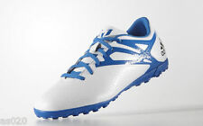 NEW Adidas Messi 15.4 Mens Adults Astro Turf Football Boots - White & Blue