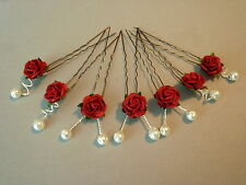 7 rose pearls hair pins slides wedding bridal flowers 30 colours