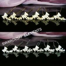 6 PCSProm Butterfly made with  Swarovski Clear Silver / Gold Hair Pins H024
