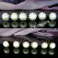 SALE 6 PCS Prom White Pearls Gold / Silver made with Swarovski Hair Pin H010G