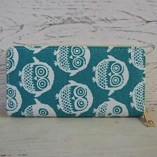 Womens Girls Fully Lined Canvas Zipped Purse Vintage Turquoise Blue White Owls