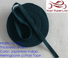 10mm Japanese Indigo Cotton Herringbone Tape Fabric Dress Making sewing Buntin