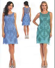 Lace Short Modern Mother's Formal Dresses Cocktail Prom Gown Evening Party S~5XL