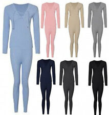 Womens Ribbed Stretch Cross Lace Up Front Lounge Suit Tracksuit Fitted Jumper