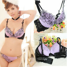New Sexy Womens Floral Bra Sets Lingerie Sexy Lace Bras + Panties 75 80 85 B H77