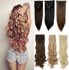 Real Natural Full Head Extensions Clip Hair Pieces Synthetic Blonde Ash red hair