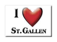 SWITZERLAND SCHWEIZ SOUVENIR NEW GIFT FRIDGE MAGNET CUISNEOIR I LOVE ST.GALLEN