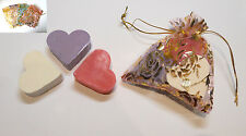 Set of 3 Heart Shaped Guest Soaps - Coconut, Lavender and Rose in Gold Rose Bag