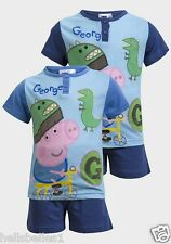 "BOY'S FULLY LICENSED PEPPA PIG GEORGE ""DINO"" SHORT PJ/PYJAMAS 18M 2 3 4 5 6Y"