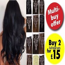 Ladies Hair Extentions Black Clip Full Head Synthetic Long Remy Hair Feels Human