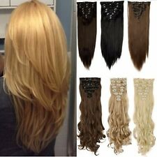 Real Quality  Full Head 8 piece Clip in on Hair Extension 18 clips Golden Blonde