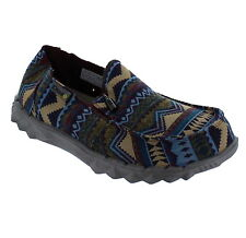 Hey Dude Farty Print Mens Incas Geometric Aztec Print Slip On Canvas Loafers New