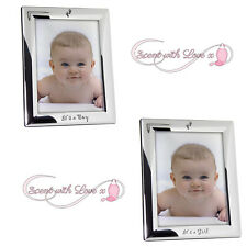 "Silver Its A Boy Girl New Baby Birth 5 x 7"" Photo Picture Frame Gift"