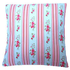 Designer Chic Clarke and Clarke Floral Stripe Duck Egg fabric Cushion Cover
