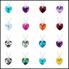 925 Sterling Silver ladies 18 x 18mm Heart Necklace With Swarovski Crystals