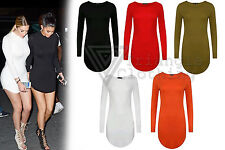 Womens Plain Long Sleeve Curved Hem Mini Dress Celeb Look Bodycon Kim Sexy