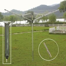 4 ARM 40/50M ROTARY CLOTHES AIRER DRYER WASHING LINE FOLD GARDEN OUTDOOR LARGE