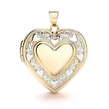 9ct White & Yellow Gold Pretty Heart Trail Embossed Heart Shaped Locket NEW