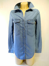 ladies Calvin Klein Whisper Long Sleeve Indigo Blue Denim Shirt