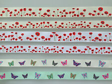 REEL CHIC GROSGRAIN RIBBON TRIM - POPPIES / BUTTERFLY 16mm or 22mm
