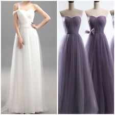 Multi-Style Tulle Backless Floor Length Pleated Wedding Gown or Bridesmaid Dress
