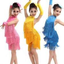 Vogue Girls Tassel Latin Dancewear Dress Kids Ballroom Salsa Dance Costume Dress